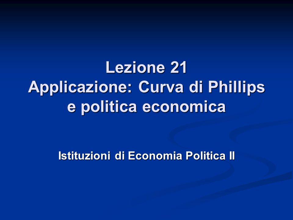Lezione 21 Applicazione: Curva di Phillips e politica economica