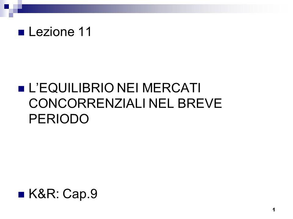 Lezione 11 L'EQUILIBRIO NEI MERCATI CONCORRENZIALI NEL BREVE PERIODO K&R: Cap.9