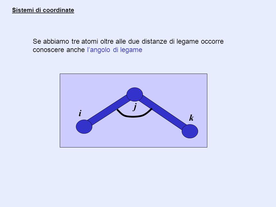 Sistemi di coordinate Se abbiamo tre atomi oltre alle due distanze di legame occorre conoscere anche l'angolo di legame.