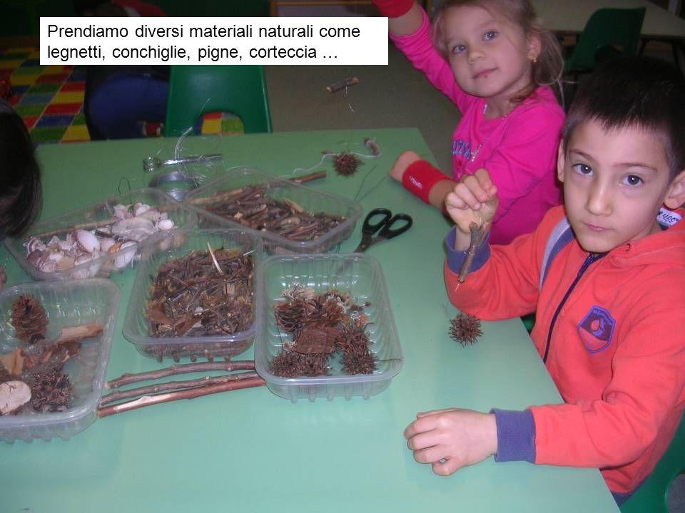 Prendiamo diversi materiali naturali come legnetti, conchiglie, pigne, corteccia …