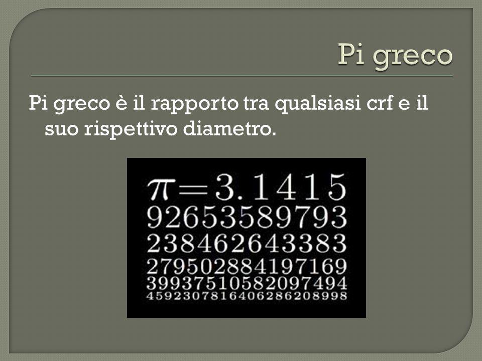 Pi greco Pi greco è il rapporto tra qualsiasi crf e il suo rispettivo diametro.