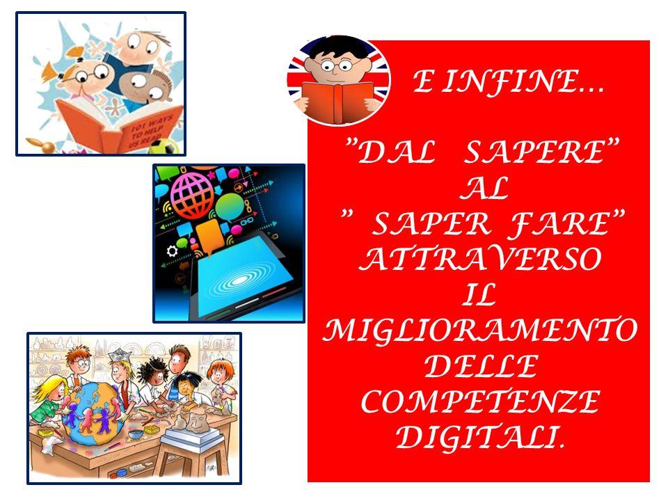 E INFINE… DAL SAPERE AL SAPER FARE ATTRAVERSO IL MIGLIORAMENTO DELLE COMPETENZE DIGITALI.