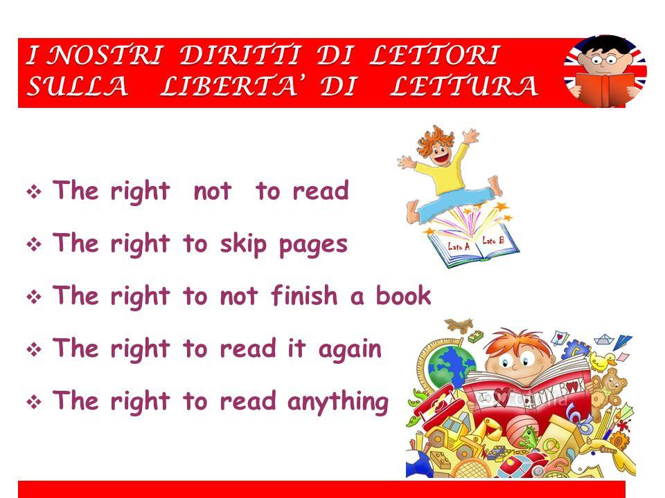 I NOSTRI DIRITTI DI LETTORI SULLA LIBERTA' DI LETTURA