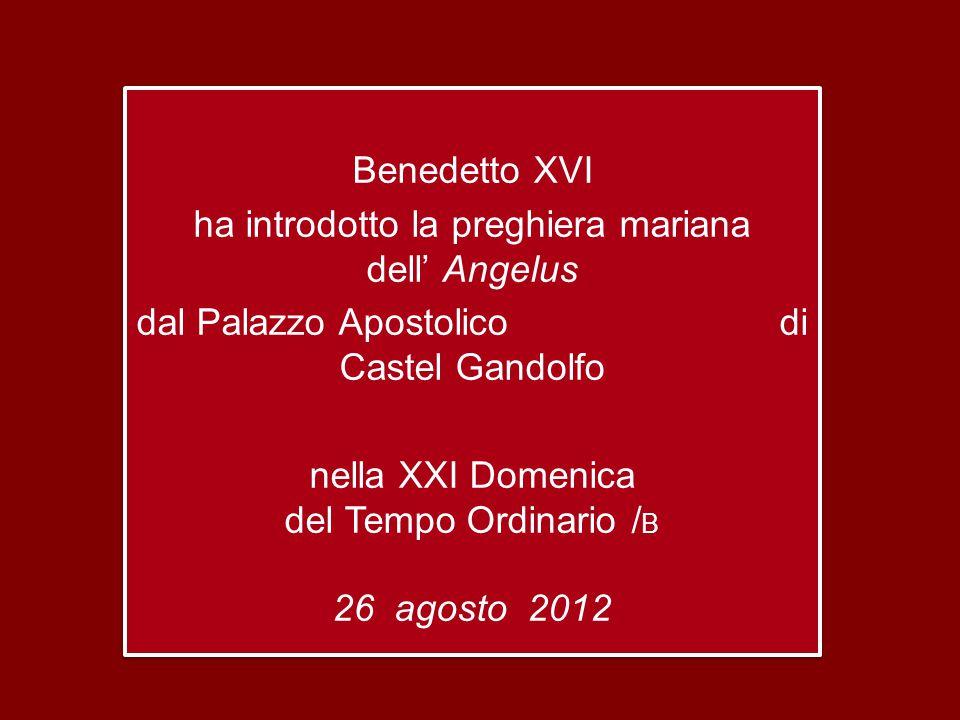 Benedetto XVI ha introdotto la preghiera mariana dell' Angelus dal Palazzo Apostolico di Castel Gandolfo nella XXI Domenica del Tempo Ordinario /B 26 agosto 2012