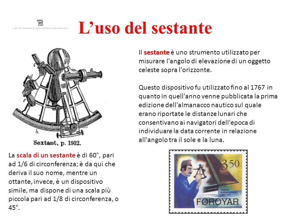 L'uso del sestante Il sestante è uno strumento utilizzato per misurare l angolo di elevazione di un oggetto celeste sopra l orizzonte.