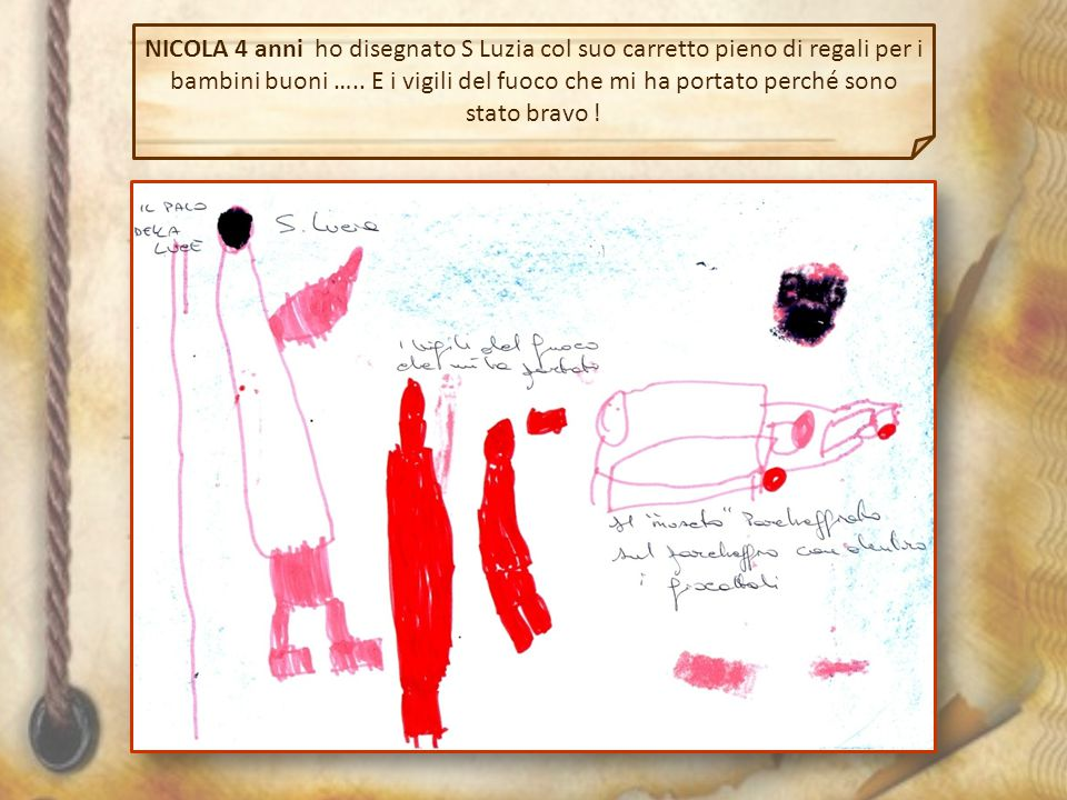 NICOLA 4 anni ho disegnato S Luzia col suo carretto pieno di regali per i bambini buoni …..