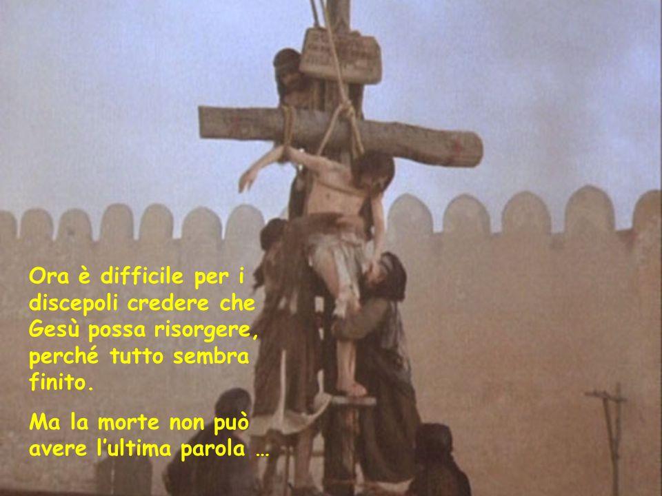 Ora è difficile per i discepoli credere che Gesù possa risorgere, perché tutto sembra finito.