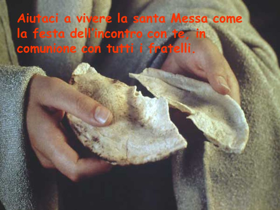 Aiutaci a vivere la santa Messa come la festa dell'incontro con te, in comunione con tutti i fratelli.
