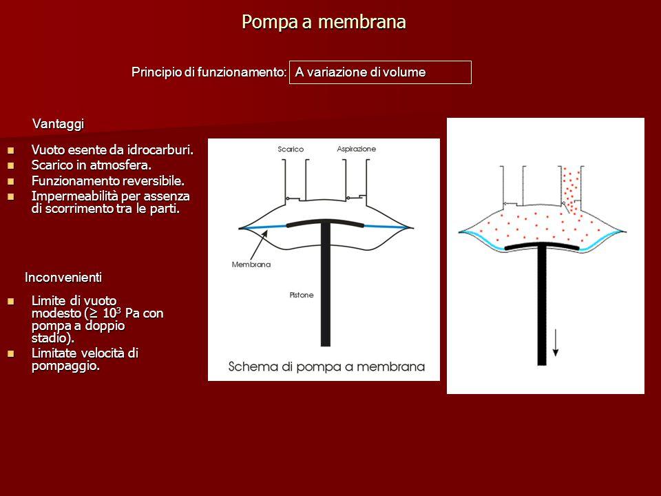 Pompa a membrana Principio di funzionamento: A variazione di volume