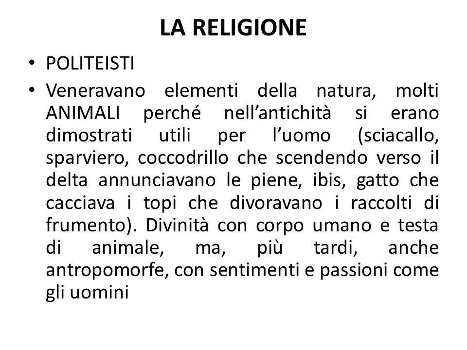 LA RELIGIONE POLITEISTI