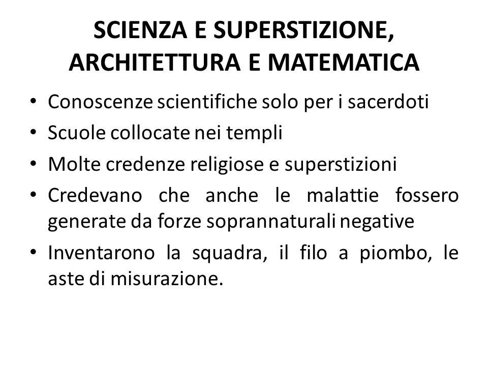 SCIENZA E SUPERSTIZIONE, ARCHITETTURA E MATEMATICA