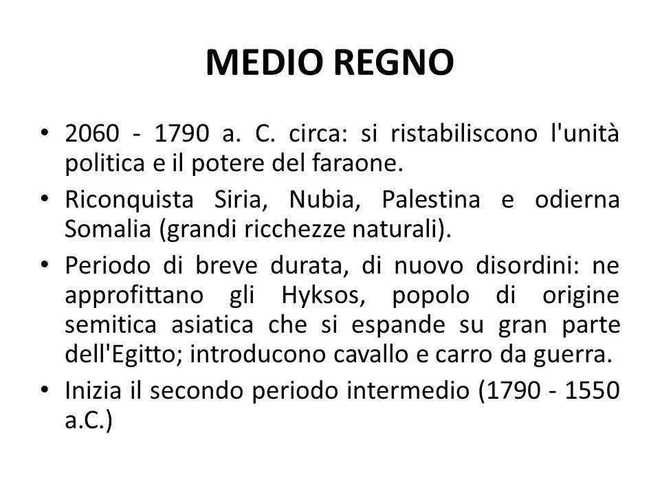 MEDIO REGNO 2060 - 1790 a. C. circa: si ristabiliscono l unità politica e il potere del faraone.
