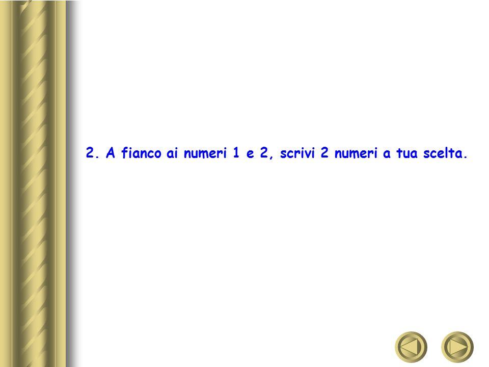 2. A fianco ai numeri 1 e 2, scrivi 2 numeri a tua scelta.