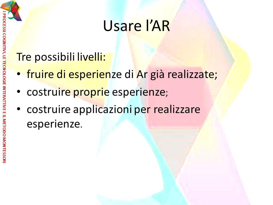 Usare l'AR Tre possibili livelli: