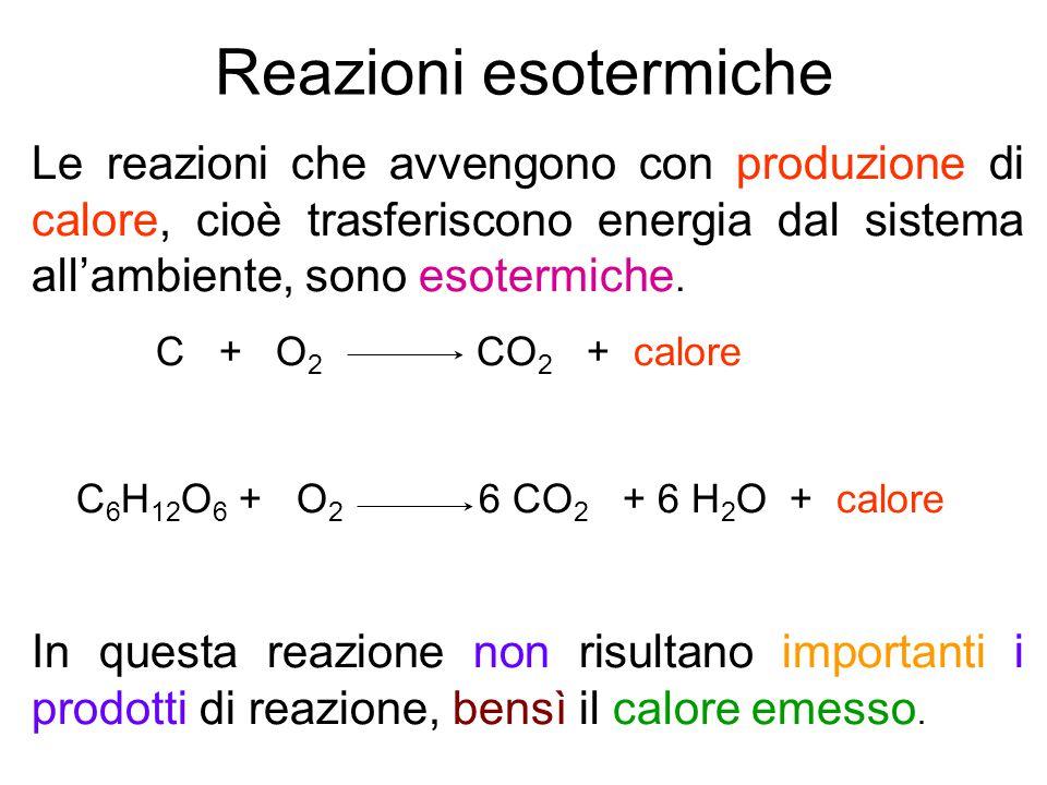Reazioni esotermiche Le reazioni che avvengono con produzione di calore, cioè trasferiscono energia dal sistema all'ambiente, sono esotermiche.