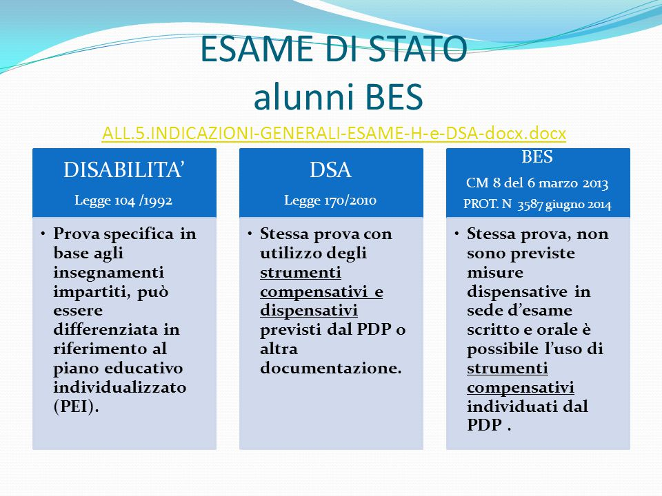 ESAME DI STATO alunni BES ALL. 5