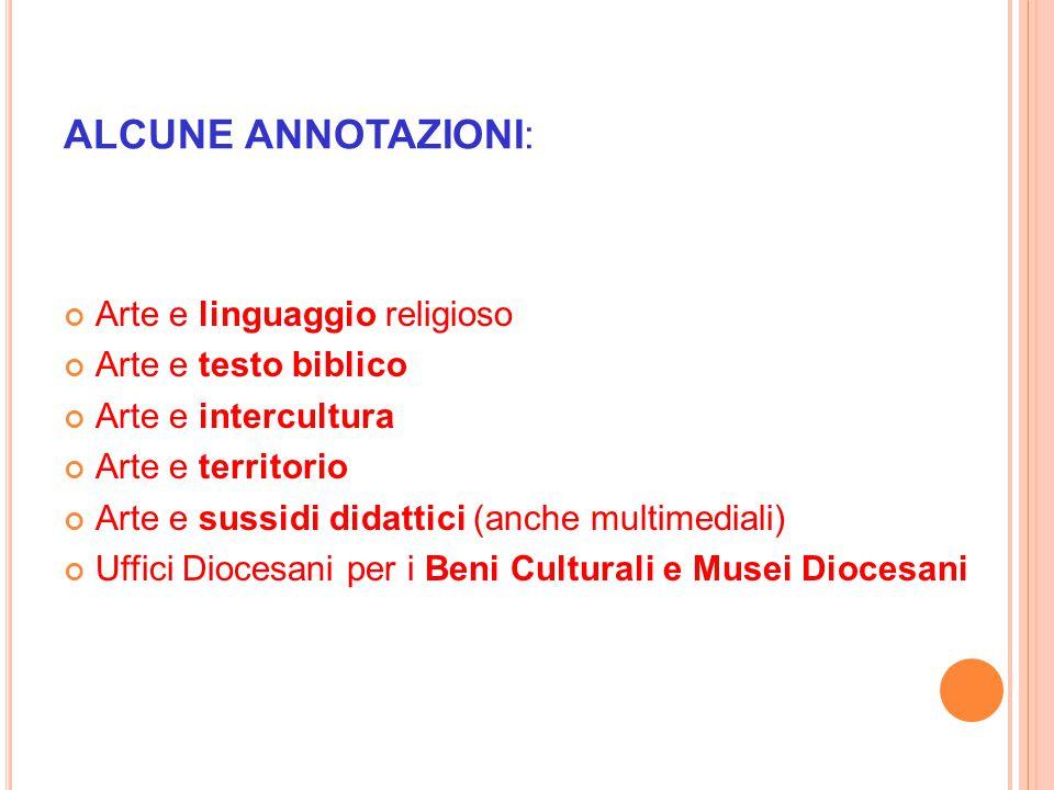 ALCUNE ANNOTAZIONI: Arte e linguaggio religioso Arte e testo biblico