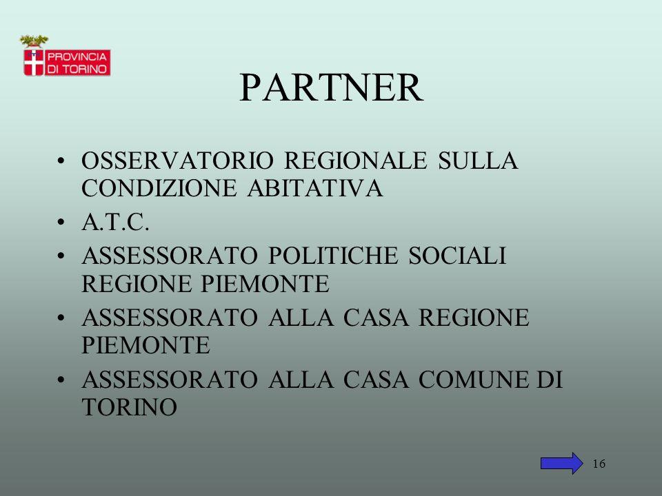 PARTNER OSSERVATORIO REGIONALE SULLA CONDIZIONE ABITATIVA A.T.C.