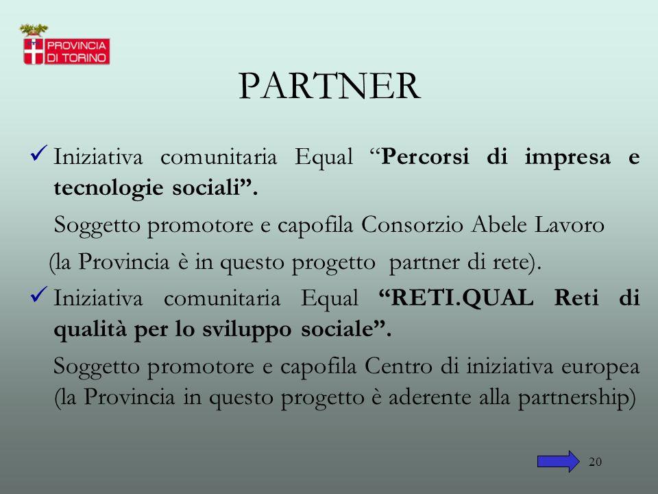 PARTNER Iniziativa comunitaria Equal Percorsi di impresa e tecnologie sociali . Soggetto promotore e capofila Consorzio Abele Lavoro.