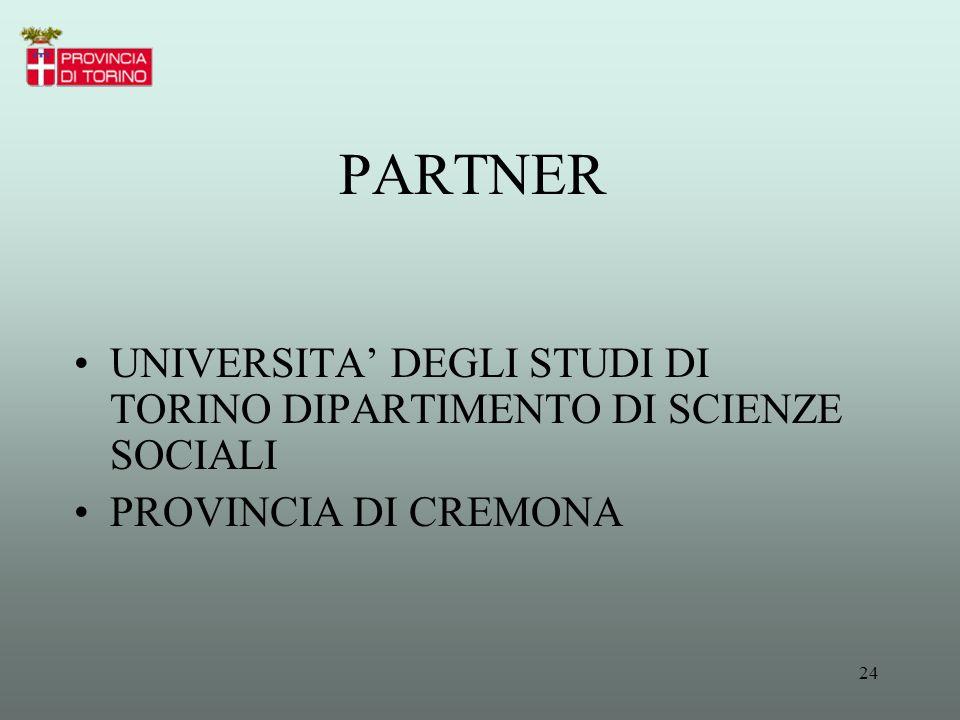 PARTNER UNIVERSITA' DEGLI STUDI DI TORINO DIPARTIMENTO DI SCIENZE SOCIALI PROVINCIA DI CREMONA