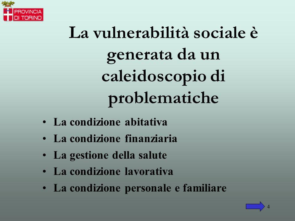 La vulnerabilità sociale è generata da un caleidoscopio di problematiche