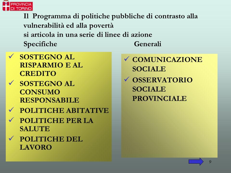 Il Programma di politiche pubbliche di contrasto alla vulnerabilità ed alla povertà si articola in una serie di linee di azione Specifiche Generali