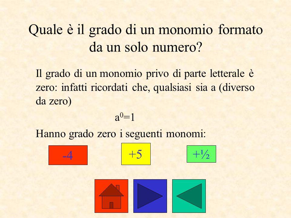Quale è il grado di un monomio formato da un solo numero
