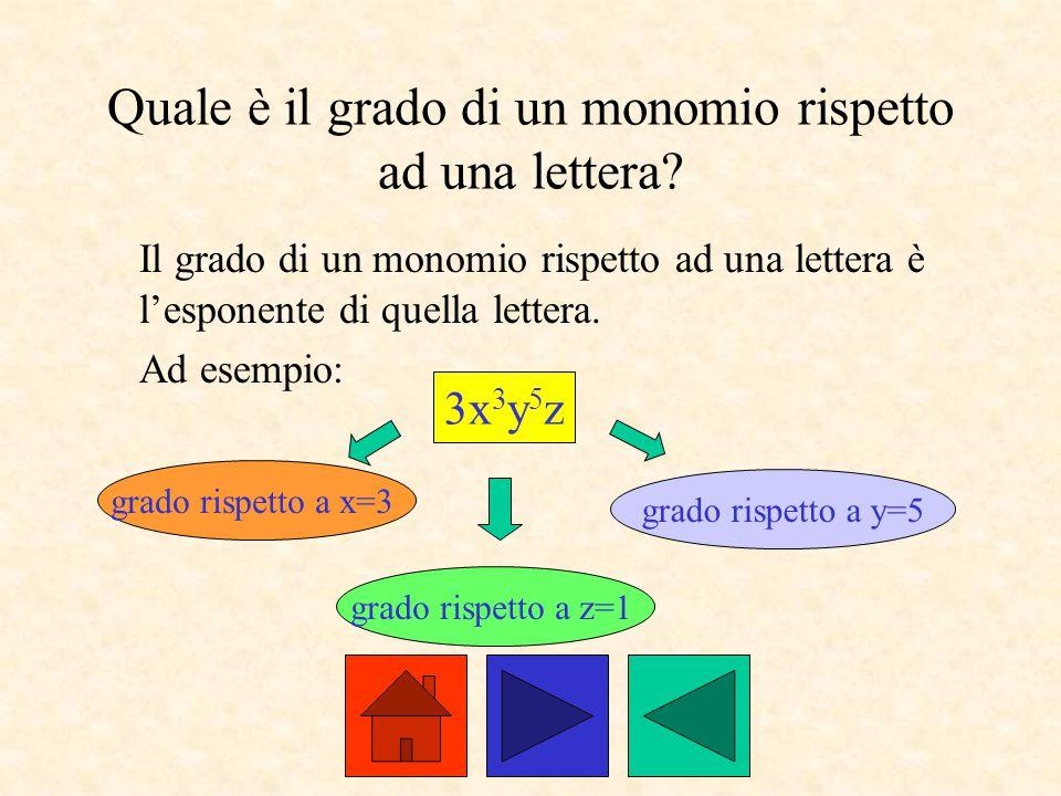 Quale è il grado di un monomio rispetto ad una lettera