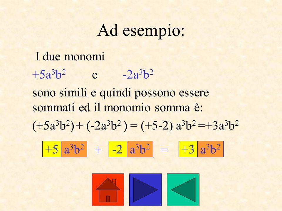 Ad esempio: I due monomi +5a3b2 e -2a3b2