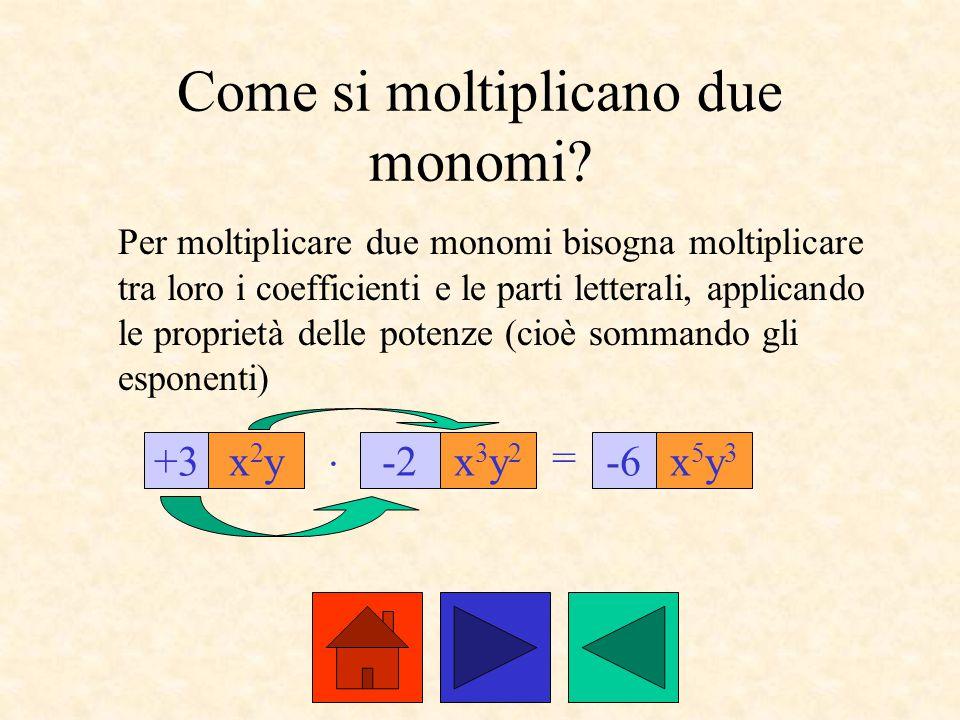 Come si moltiplicano due monomi