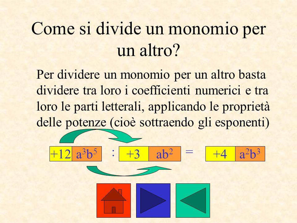 Come si divide un monomio per un altro