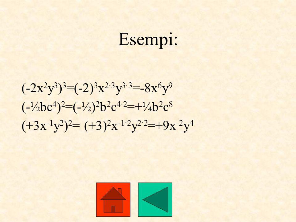 Esempi: (-2x2y3)3=(-2)3x2·3y3·3=-8x6y9 (-½bc4)2=(-½)2b2c4·2=+¼b2c8