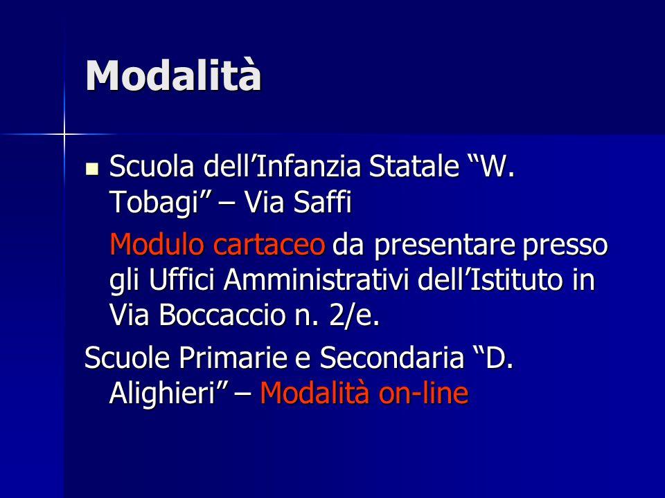 Modalità Scuola dell'Infanzia Statale W. Tobagi – Via Saffi
