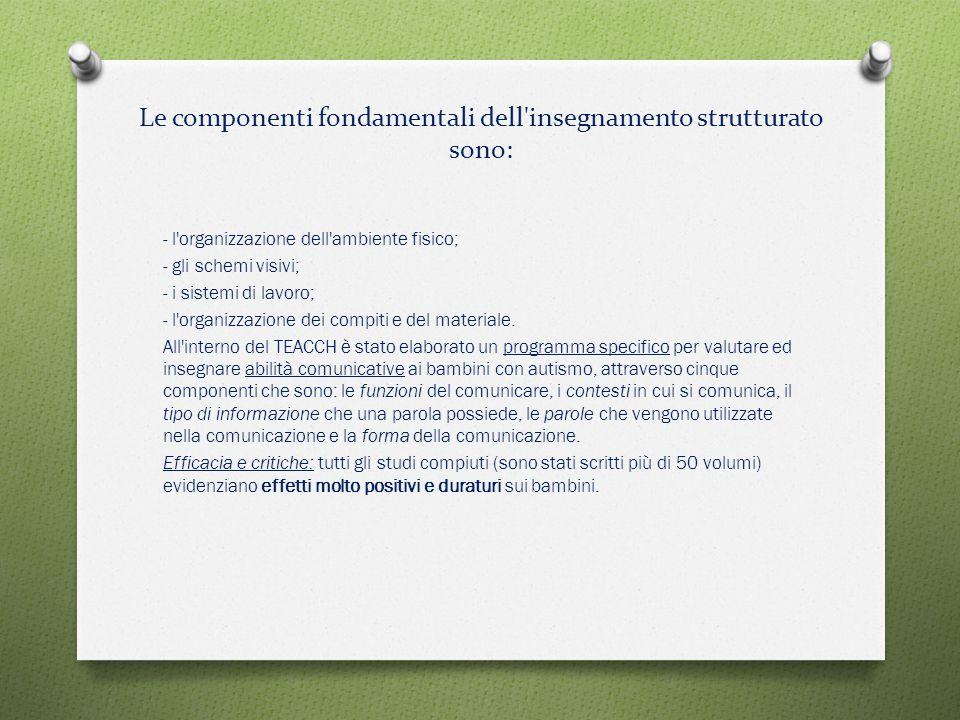 Le componenti fondamentali dell insegnamento strutturato sono: