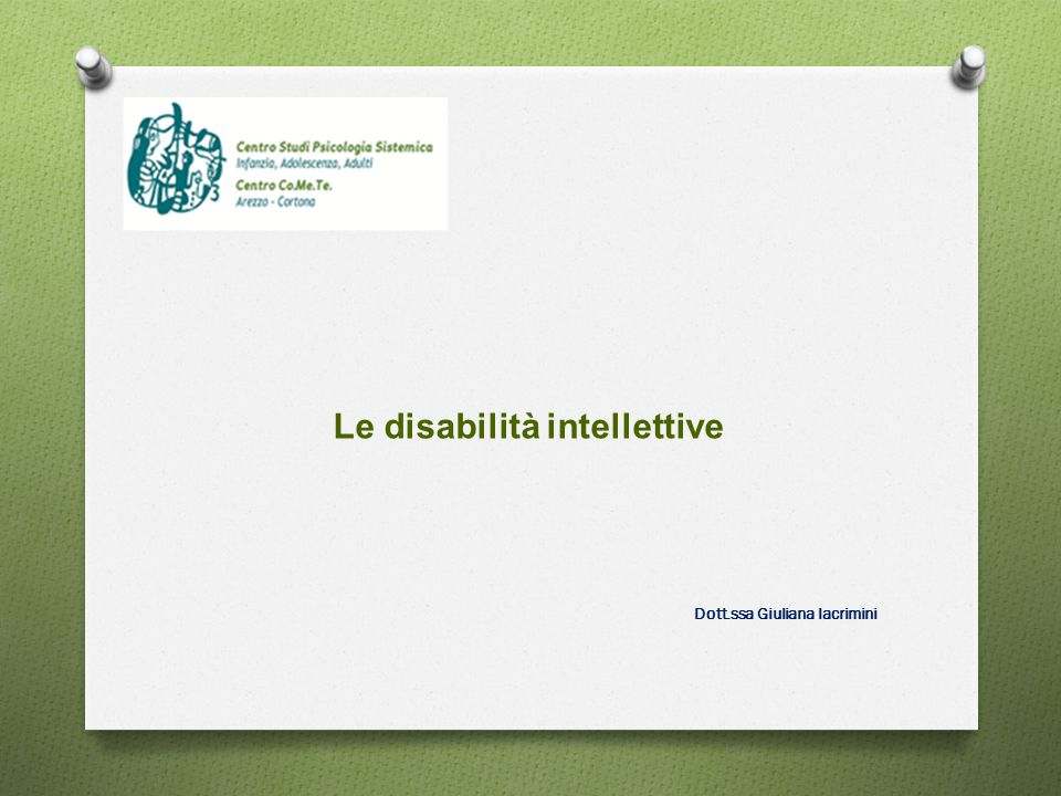 Le disabilità intellettive