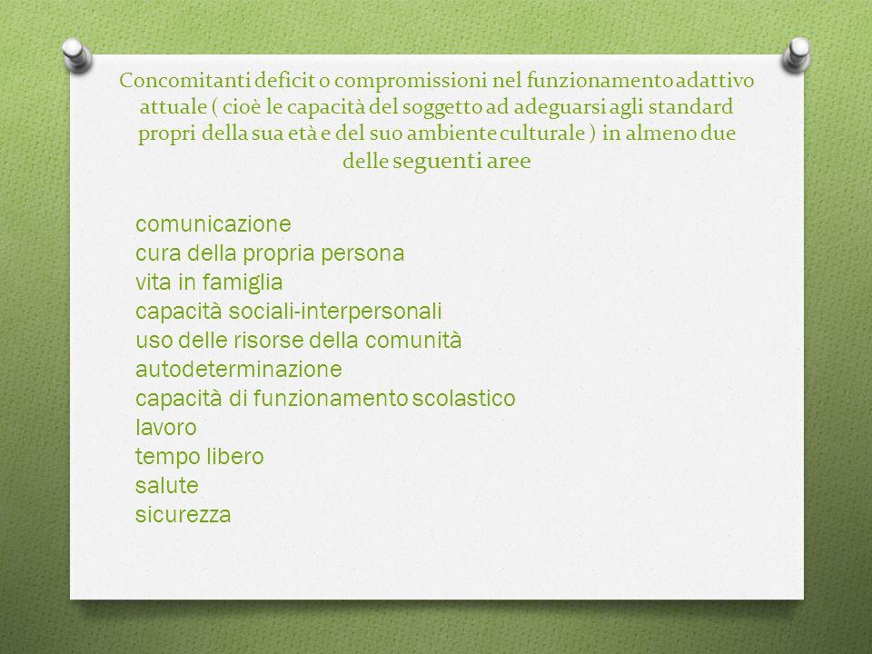 Concomitanti deficit o compromissioni nel funzionamento adattivo attuale ( cioè le capacità del soggetto ad adeguarsi agli standard propri della sua età e del suo ambiente culturale ) in almeno due delle seguenti aree