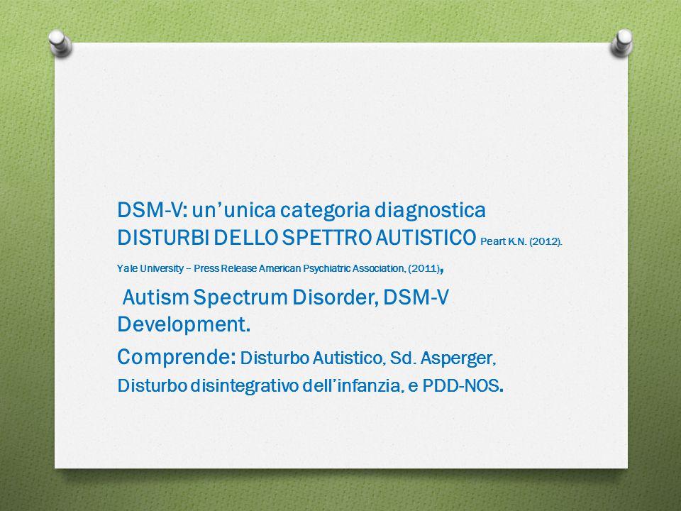 DSM-V: un'unica categoria diagnostica DISTURBI DELLO SPETTRO AUTISTICO Peart K.N. (2012). Yale University – Press Release American Psychiatric Association, (2011),