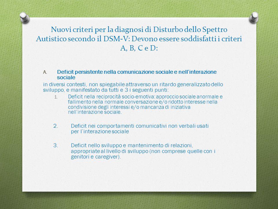 Nuovi criteri per la diagnosi di Disturbo dello Spettro Autistico secondo il DSM-V: Devono essere soddisfatti i criteri A, B, C e D: