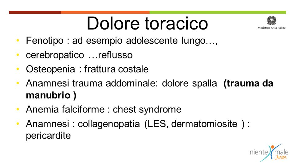 Dolore toracico Fenotipo : ad esempio adolescente lungo…,