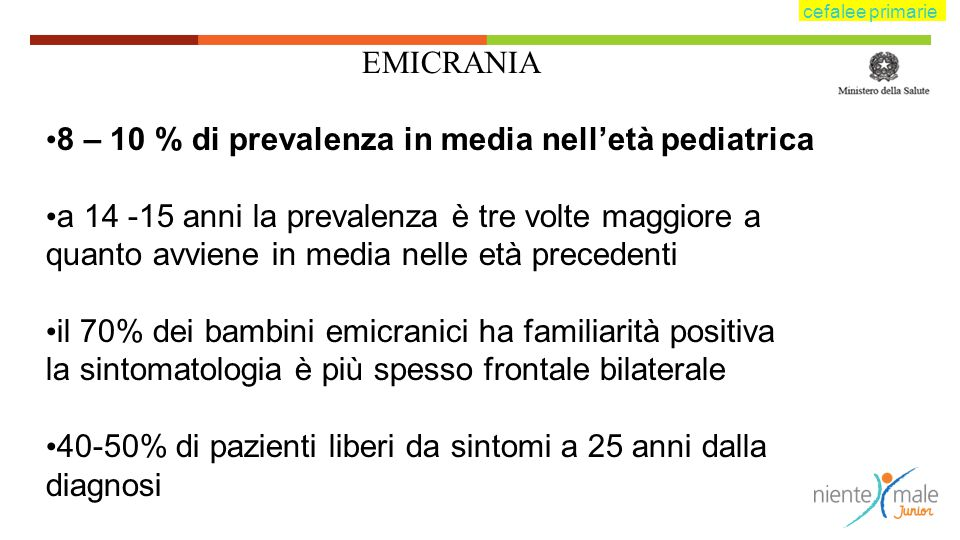 8 – 10 % di prevalenza in media nell'età pediatrica