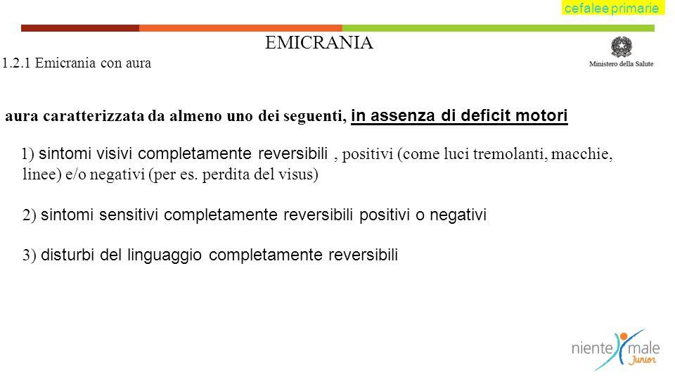 cefalee primarie EMICRANIA. 1.2.1 Emicrania con aura. aura caratterizzata da almeno uno dei seguenti, in assenza di deficit motori.