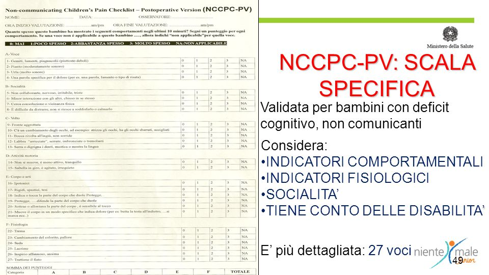 NCCPC-PV: SCALA SPECIFICA