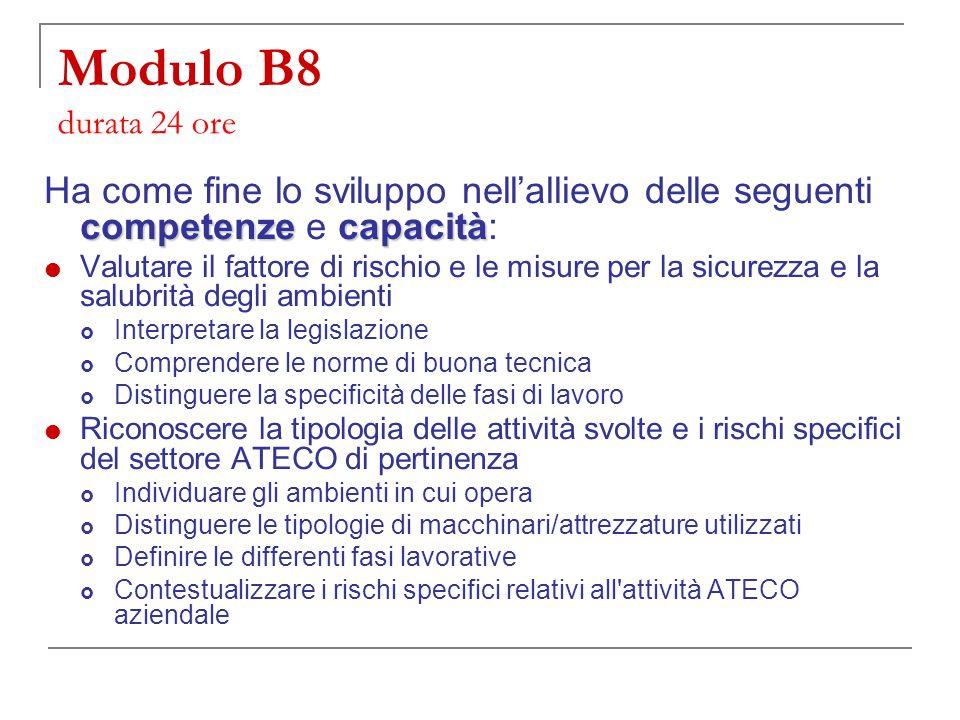 Modulo B8 durata 24 ore Ha come fine lo sviluppo nell'allievo delle seguenti competenze e capacità: