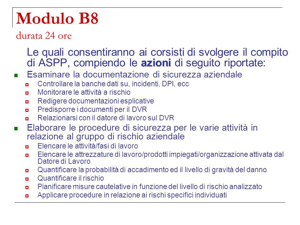 Modulo B8 durata 24 ore Le quali consentiranno ai corsisti di svolgere il compito di ASPP, compiendo le azioni di seguito riportate: