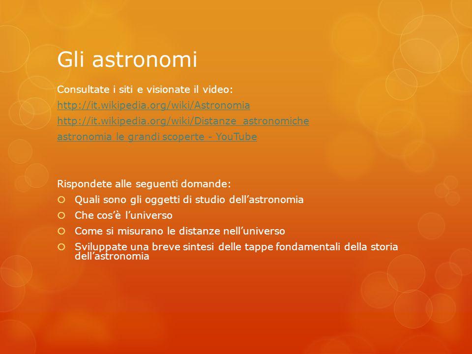 Gli astronomi Consultate i siti e visionate il video: