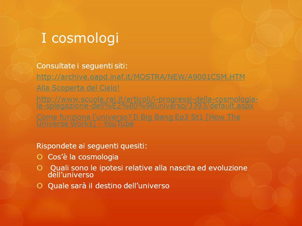 I cosmologi Consultate i seguenti siti: