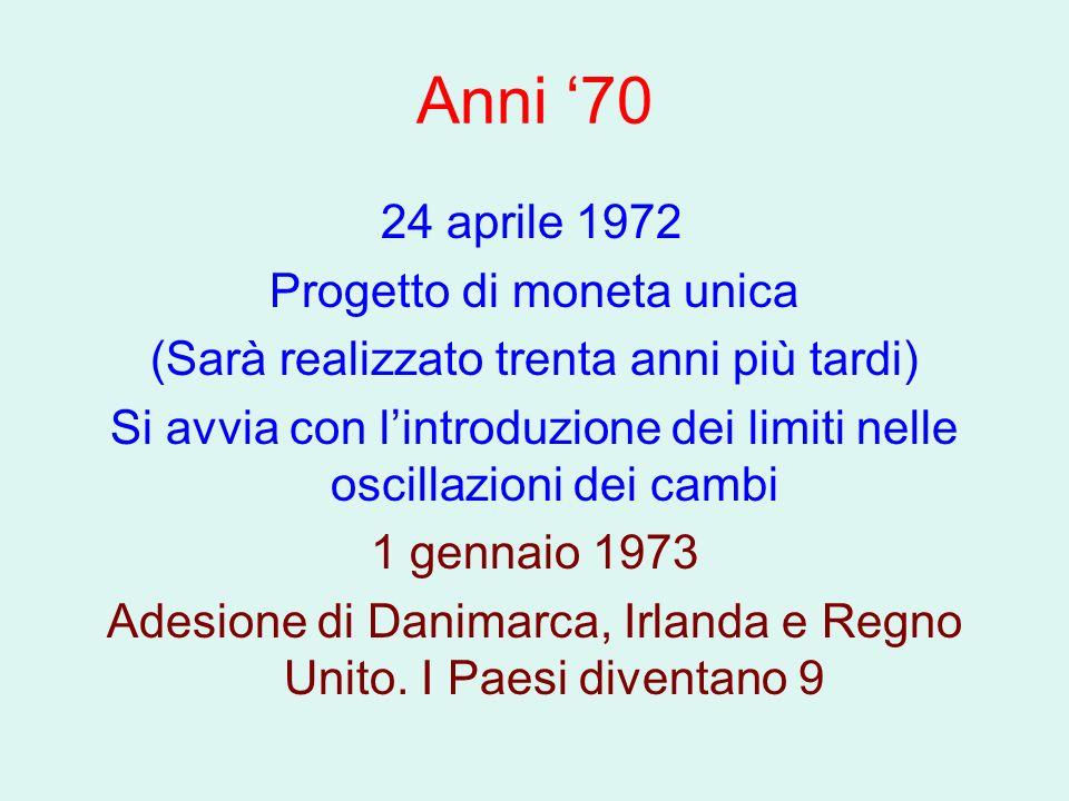Anni '70 24 aprile 1972 Progetto di moneta unica