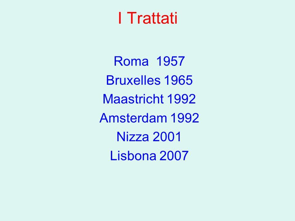 I Trattati Roma 1957 Bruxelles 1965 Maastricht 1992 Amsterdam 1992