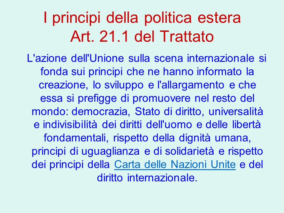 I principi della politica estera Art. 21.1 del Trattato