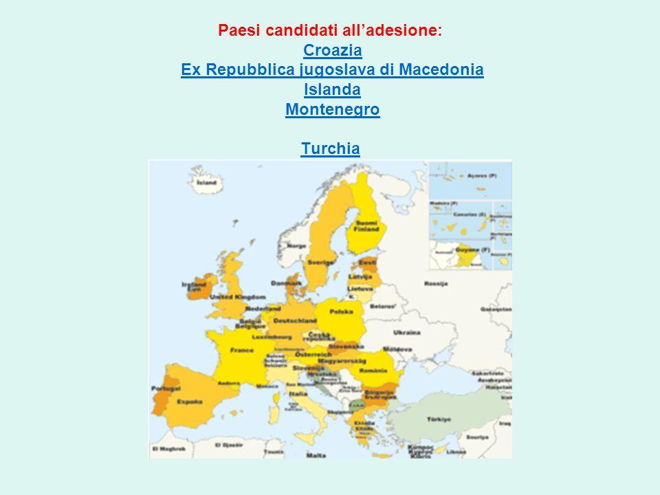 Paesi candidati all'adesione: Croazia Ex Repubblica jugoslava di Macedonia Islanda Montenegro Turchia
